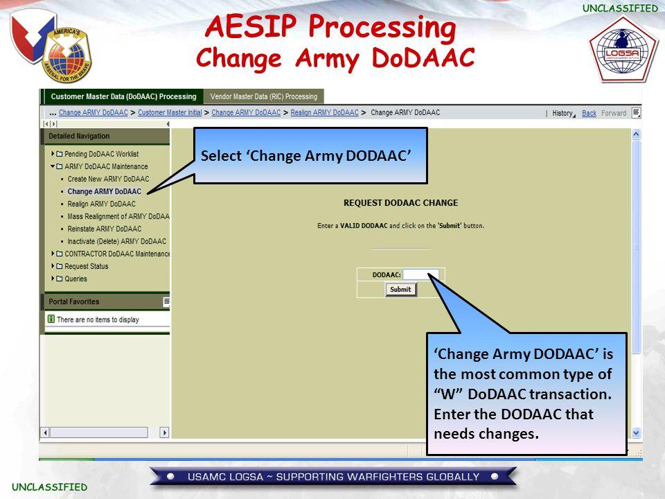 Change Army DoDAAC Select 'Change Army DODAAC'
