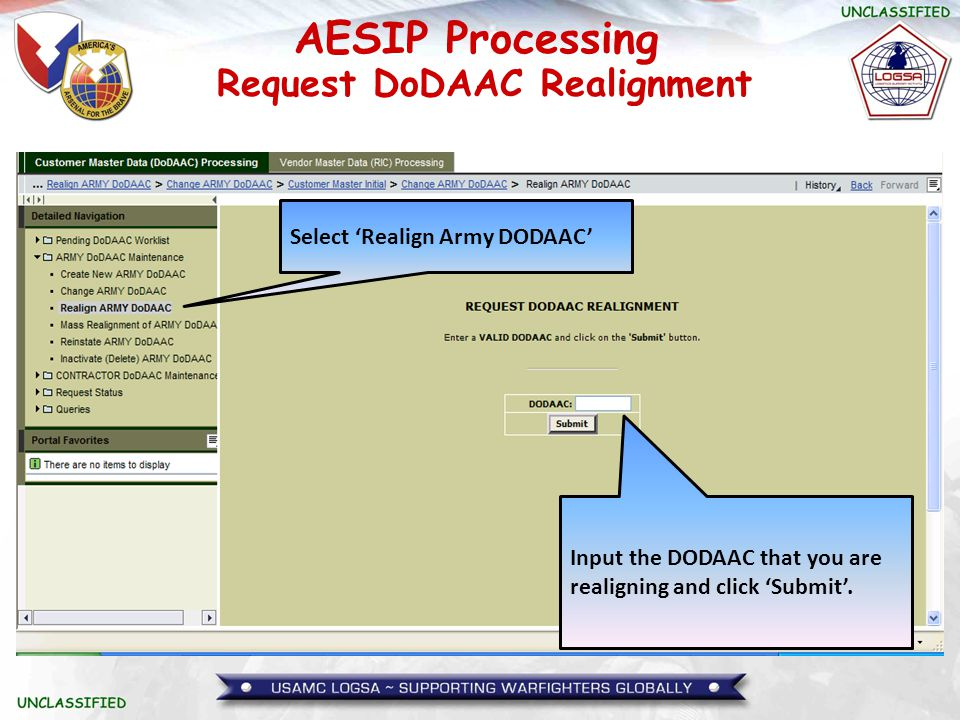 Request DoDAAC Realignment