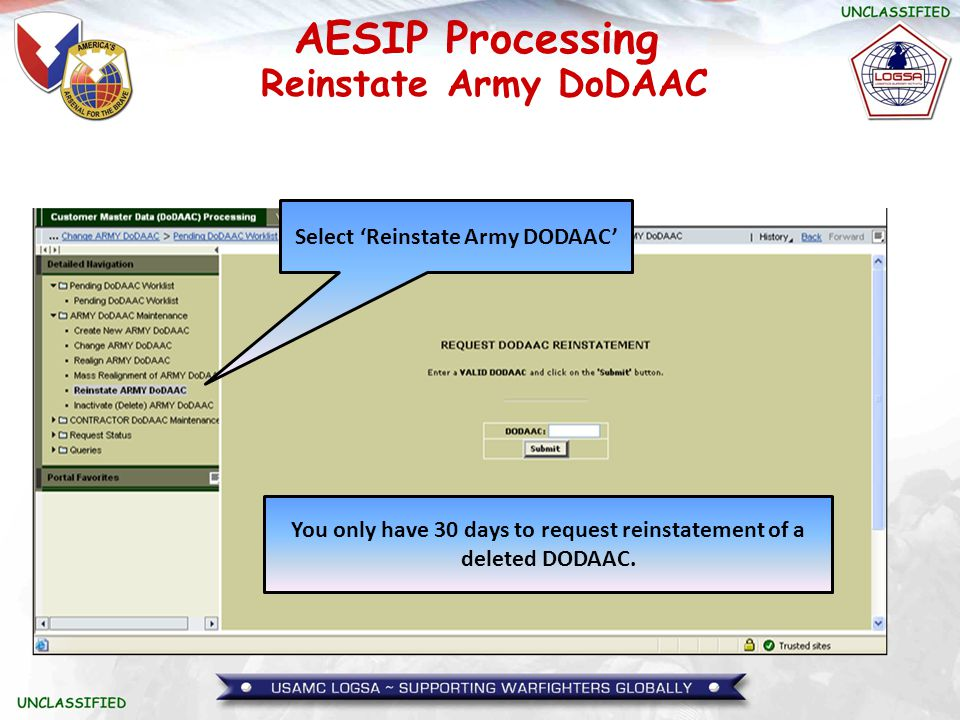 Reinstate Army DoDAAC Select 'Reinstate Army DODAAC'