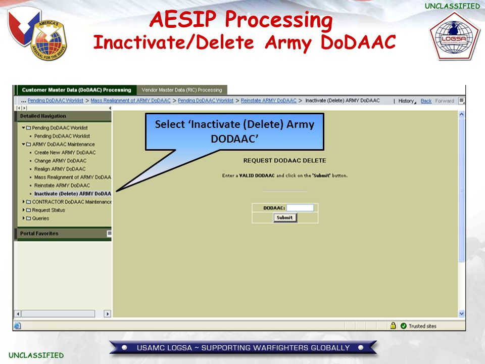Inactivate/Delete Army DoDAAC Select 'Inactivate (Delete) Army DODAAC'