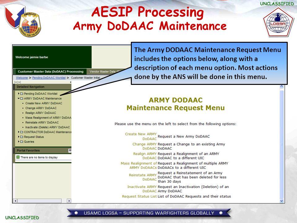 Army DoDAAC Maintenance