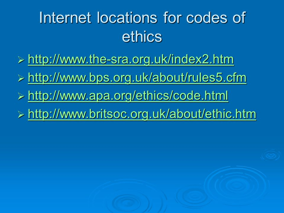 Internet locations for codes of ethics