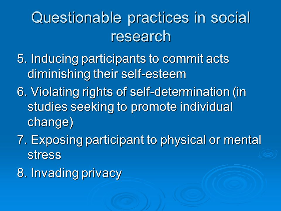 Questionable practices in social research