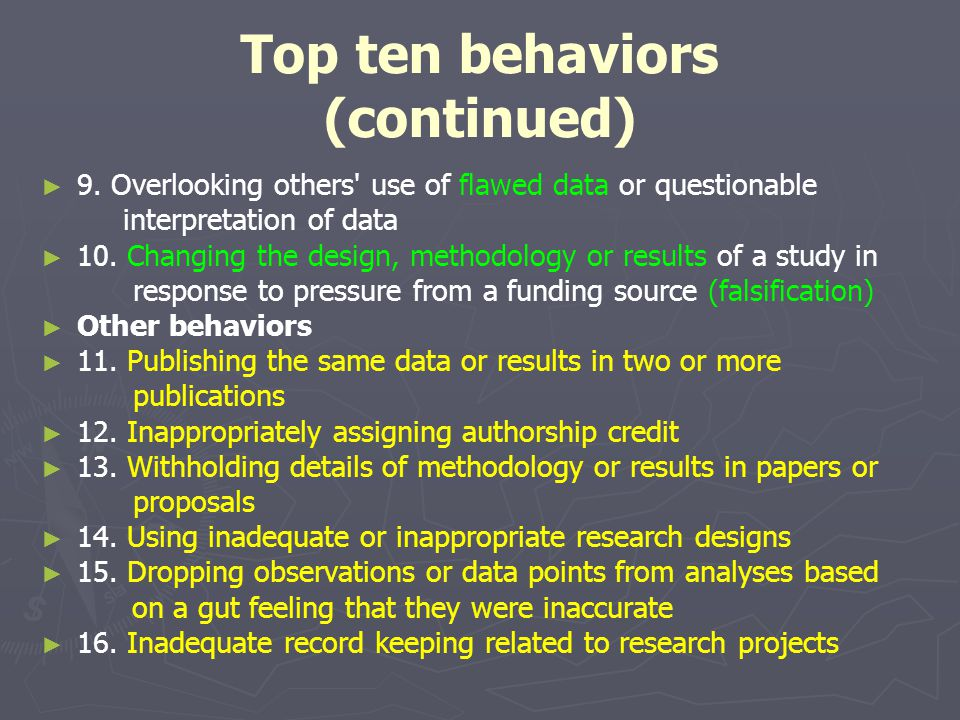 Top ten behaviors (continued)