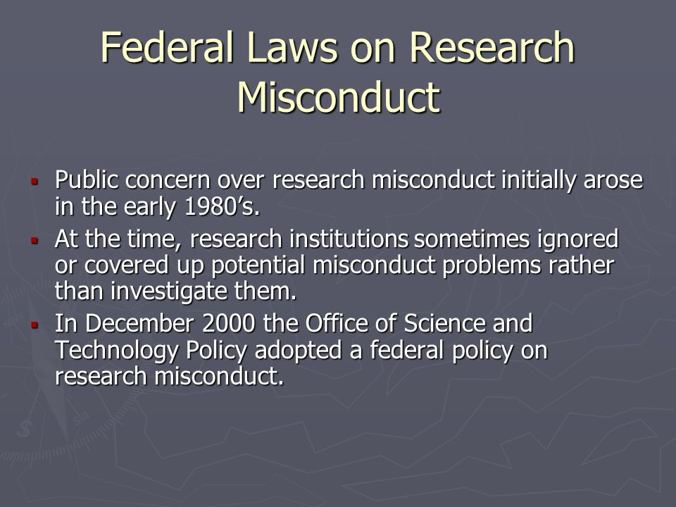 Federal Laws on Research Misconduct