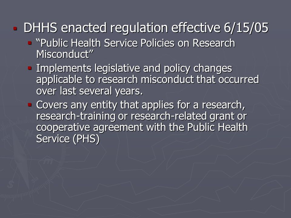 DHHS enacted regulation effective 6/15/05