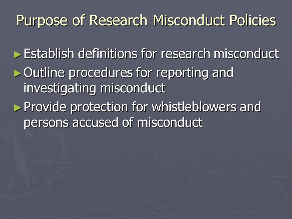Purpose of Research Misconduct Policies