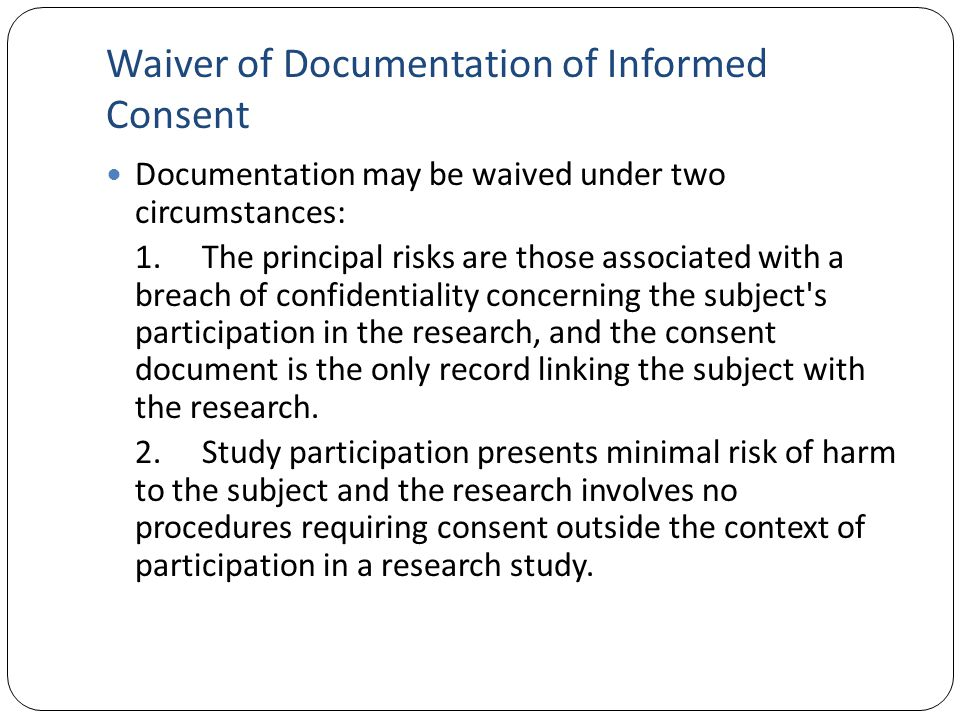 Waiver of Documentation of Informed Consent