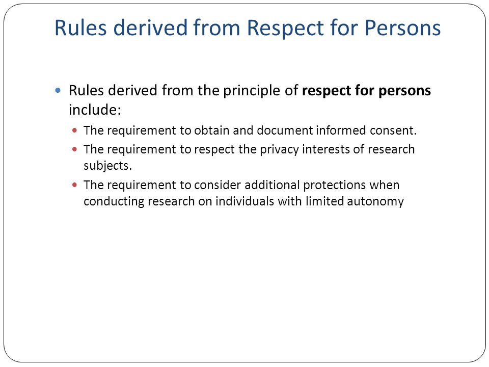 Rules derived from Respect for Persons