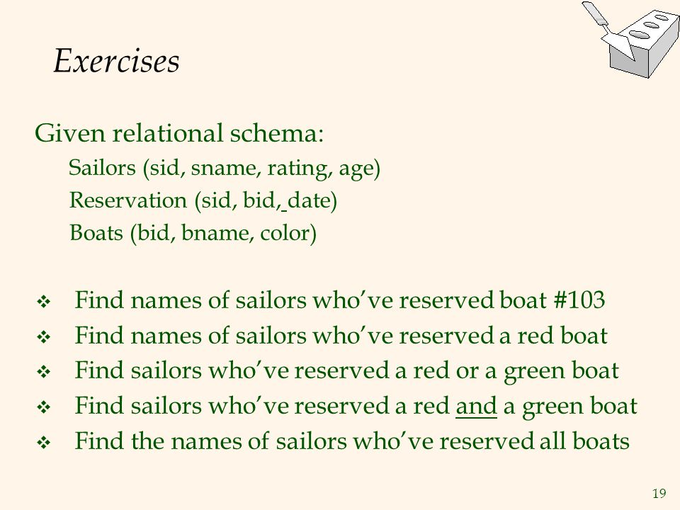 Exercises Given relational schema: