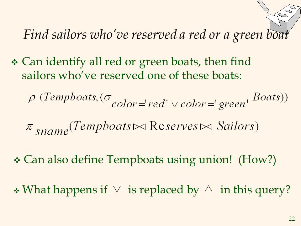 Find sailors who've reserved a red or a green boat