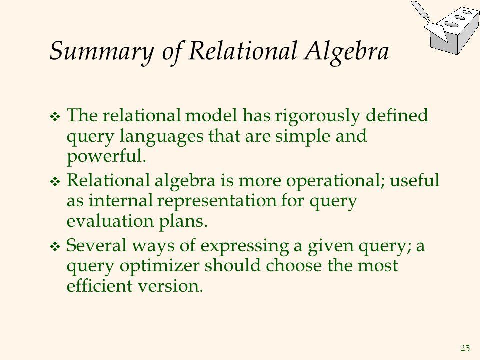 Summary of Relational Algebra