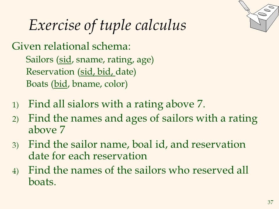 Exercise of tuple calculus