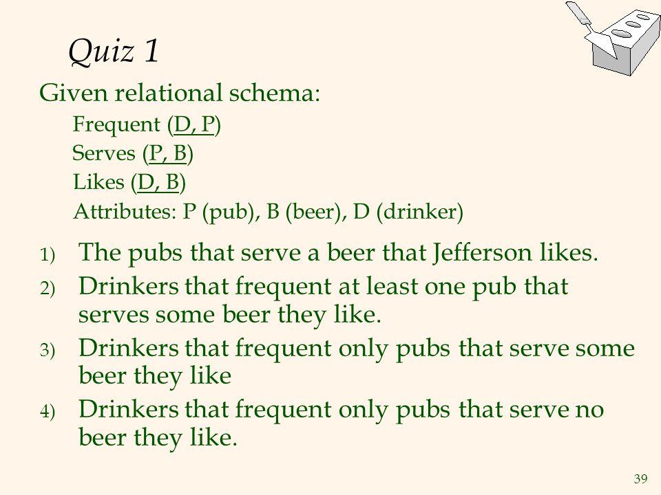 Quiz 1 Given relational schema: