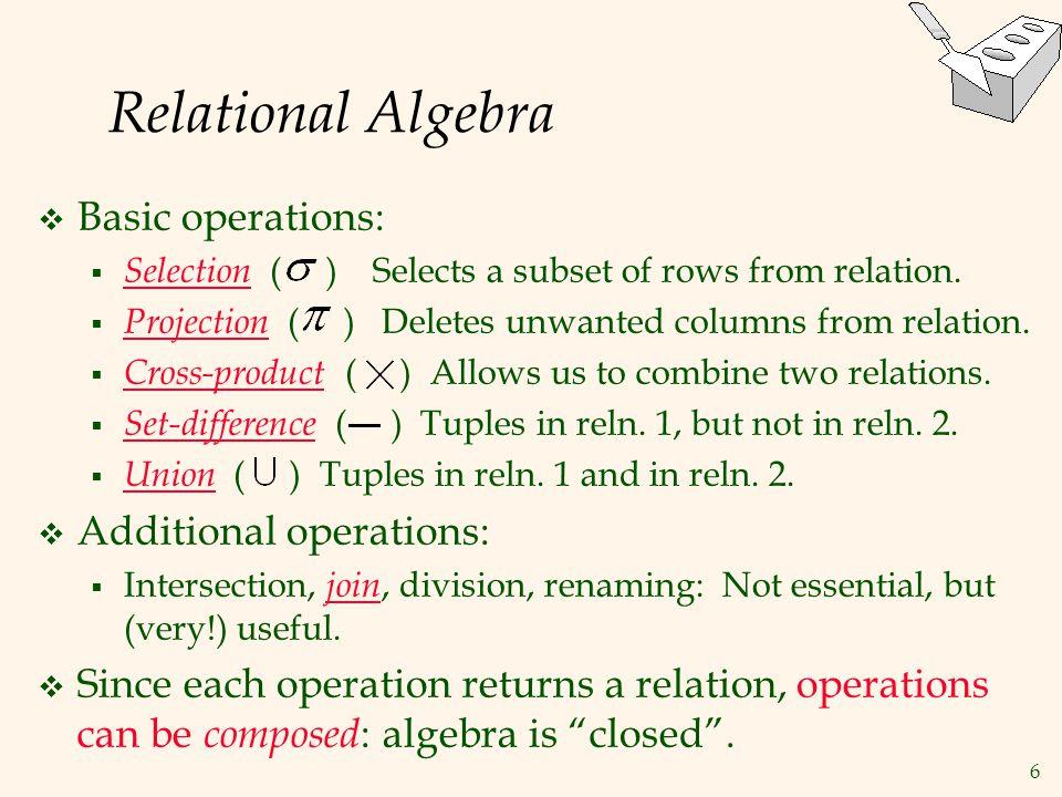 Relational Algebra Basic operations: Additional operations: