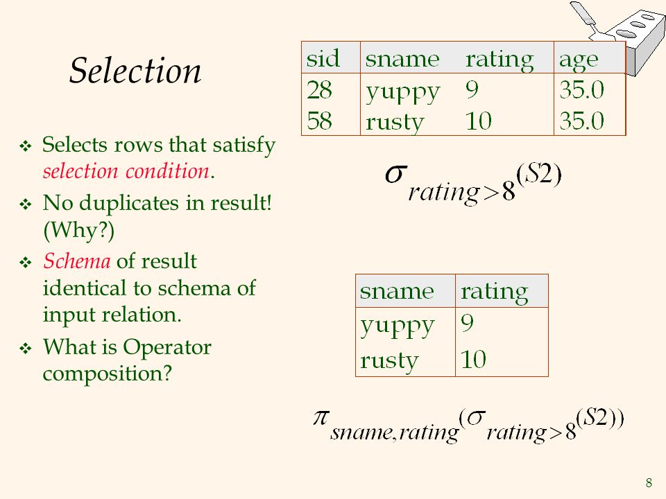 Selection Selects rows that satisfy selection condition.