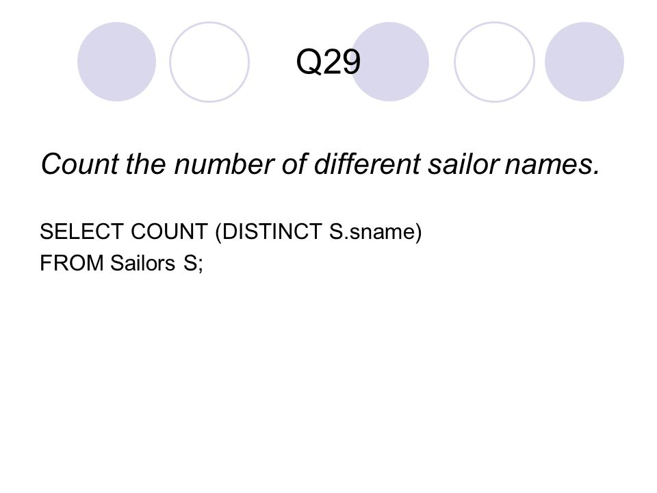 Q29 Count the number of different sailor names.