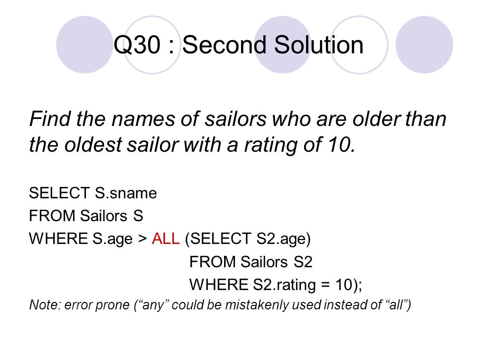 Q30 : Second Solution Find the names of sailors who are older than the oldest sailor with a rating of 10.