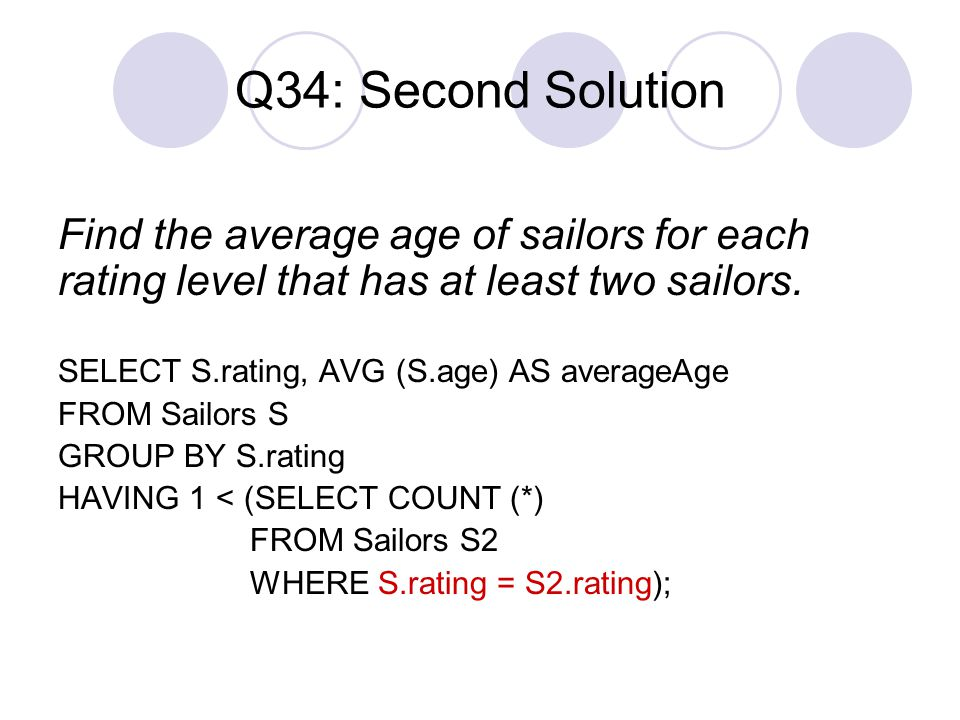 Q34: Second Solution Find the average age of sailors for each rating level that has at least two sailors.