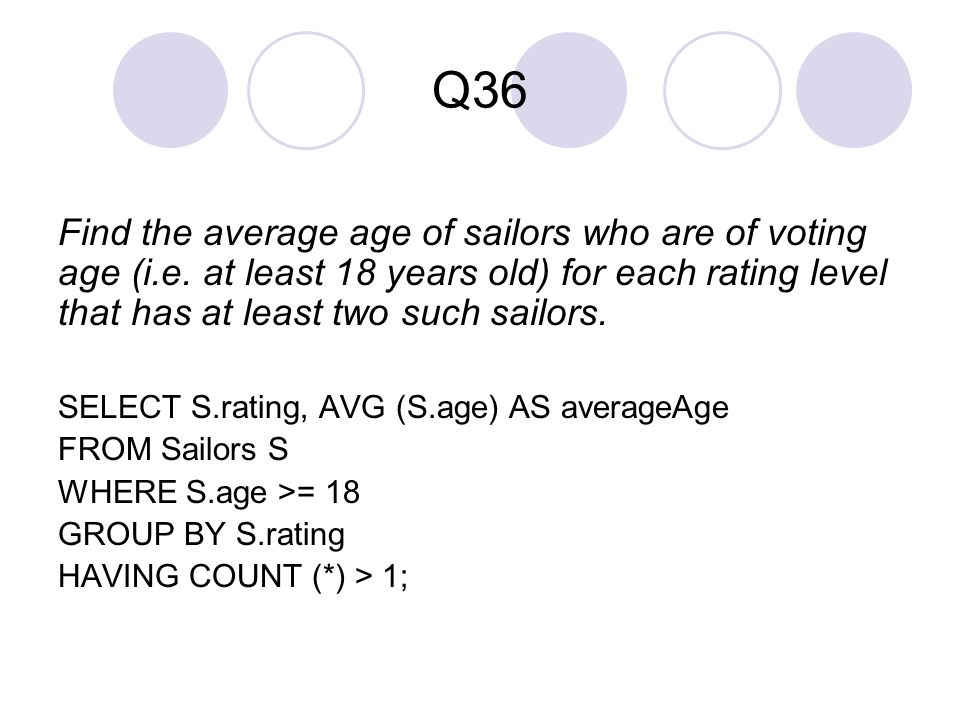 Q36 Find the average age of sailors who are of voting age (i.e. at least 18 years old) for each rating level that has at least two such sailors.