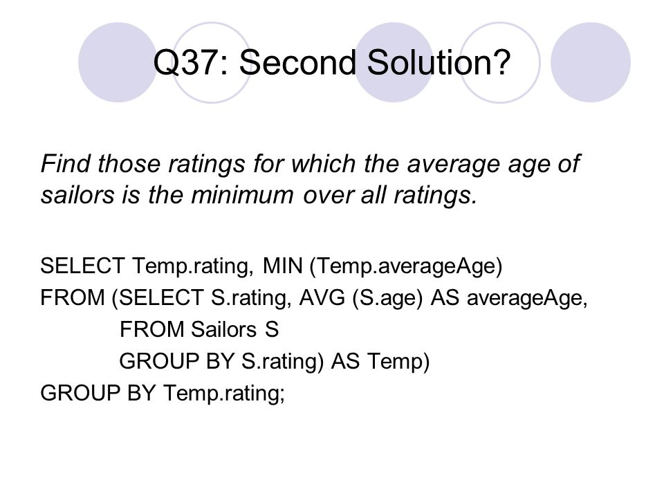 Q37: Second Solution Find those ratings for which the average age of sailors is the minimum over all ratings.