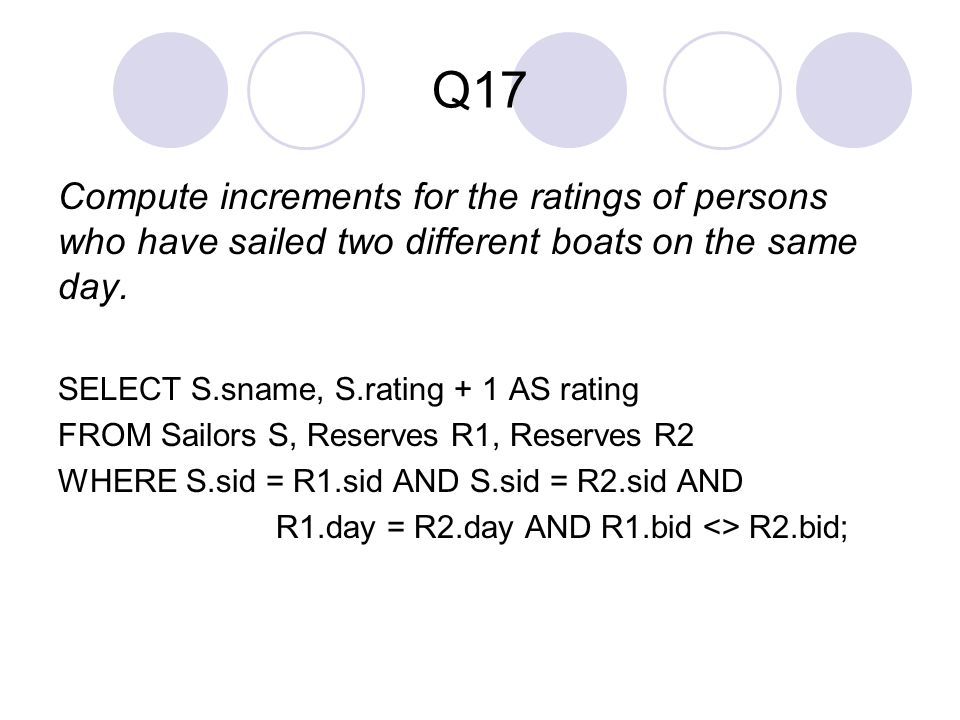 Q17 Compute increments for the ratings of persons who have sailed two different boats on the same day.