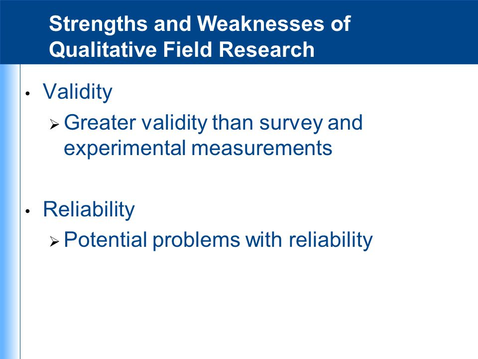 Strengths and Weaknesses of Qualitative Field Research
