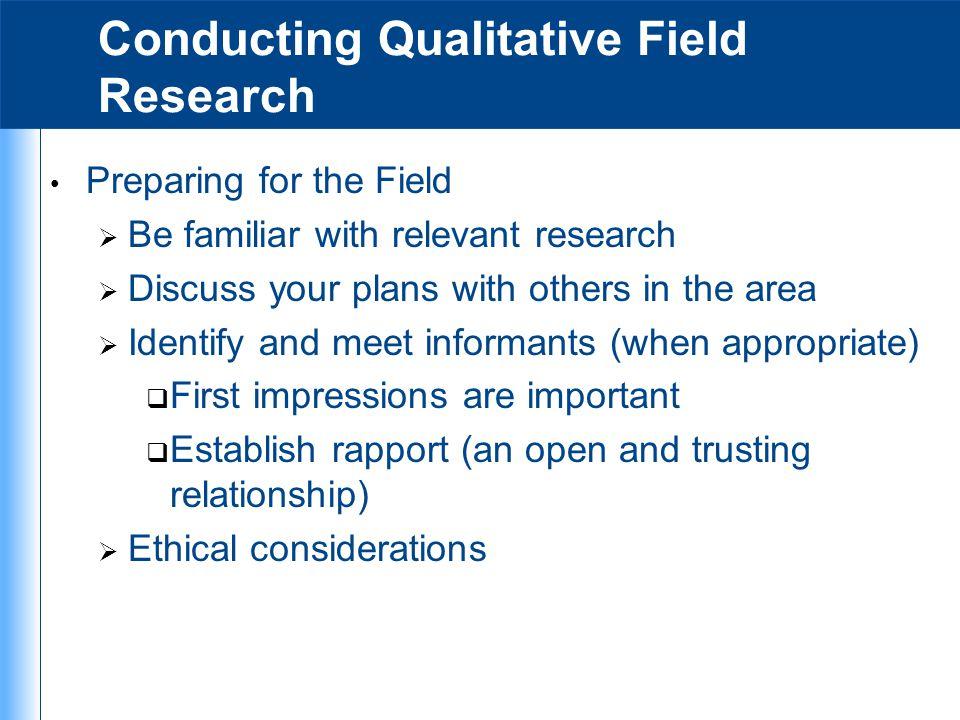 Conducting Qualitative Field Research