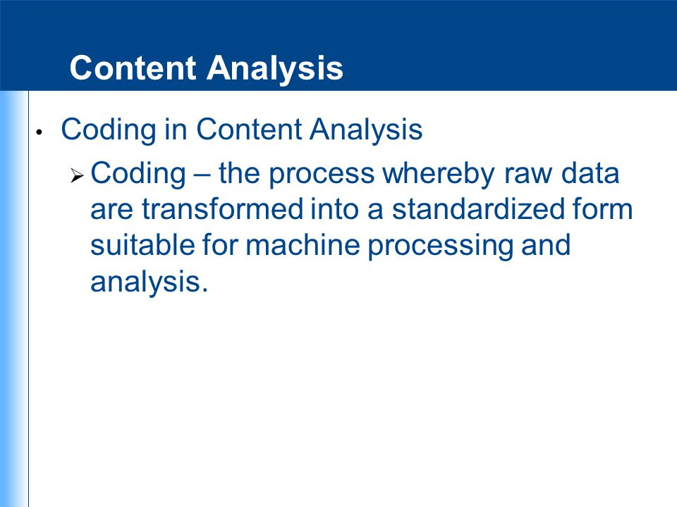 Content Analysis Coding in Content Analysis
