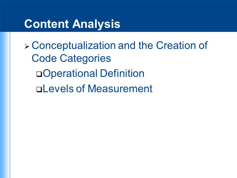 Content Analysis Conceptualization and the Creation of Code Categories