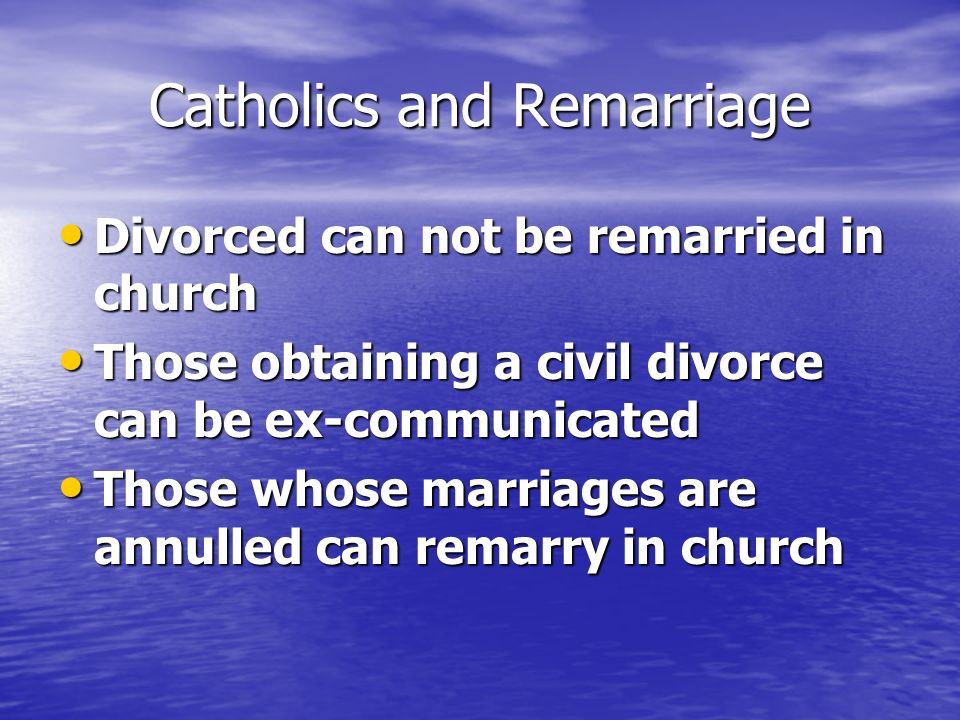 Catholics and Remarriage