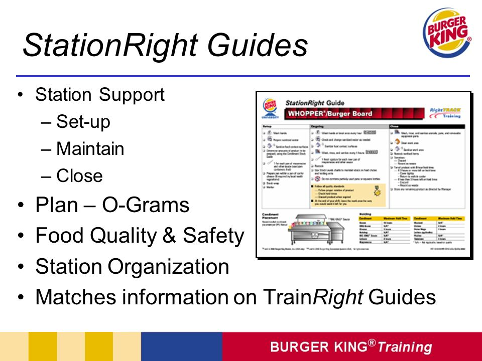 StationRight Guides Plan – O-Grams Food Quality & Safety