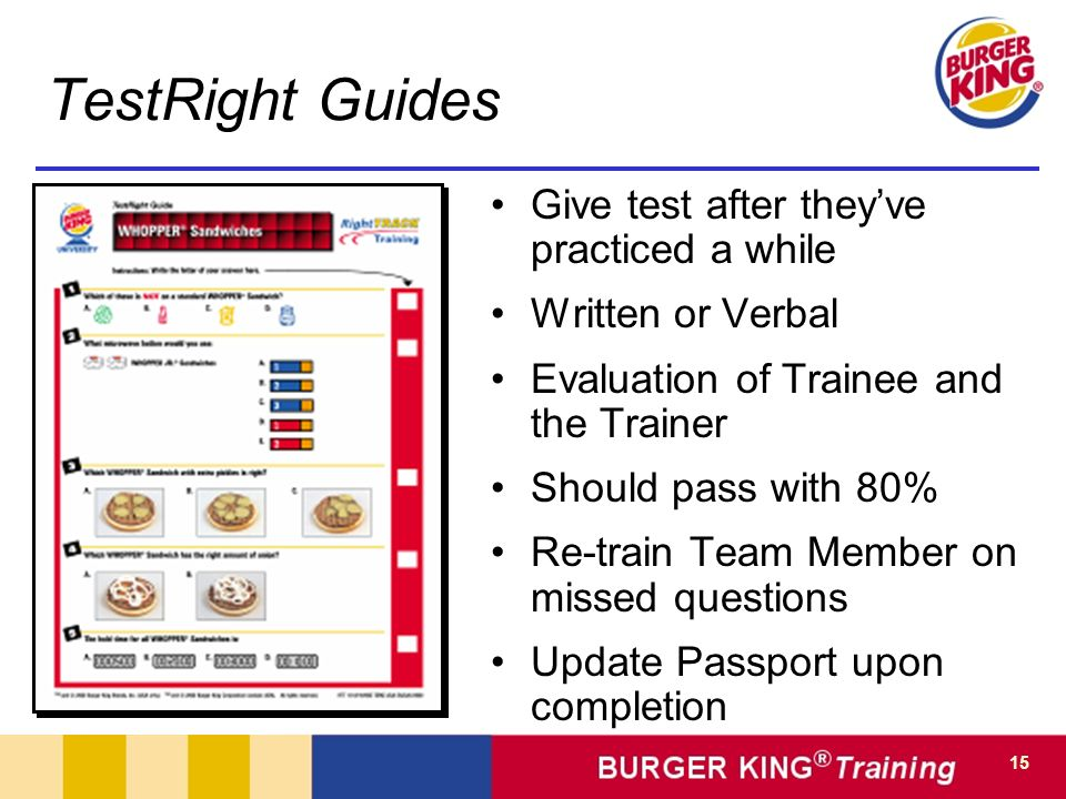 TestRight Guides Give test after they've practiced a while