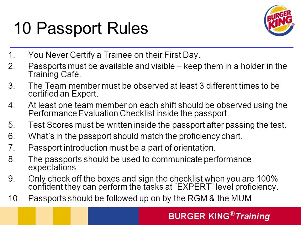 10 Passport Rules You Never Certify a Trainee on their First Day.