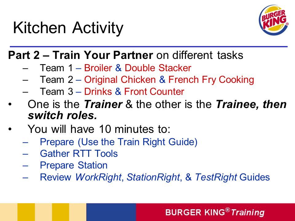 Kitchen Activity Part 2 – Train Your Partner on different tasks