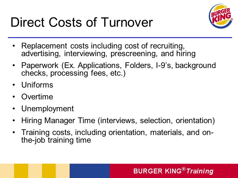 Direct Costs of Turnover