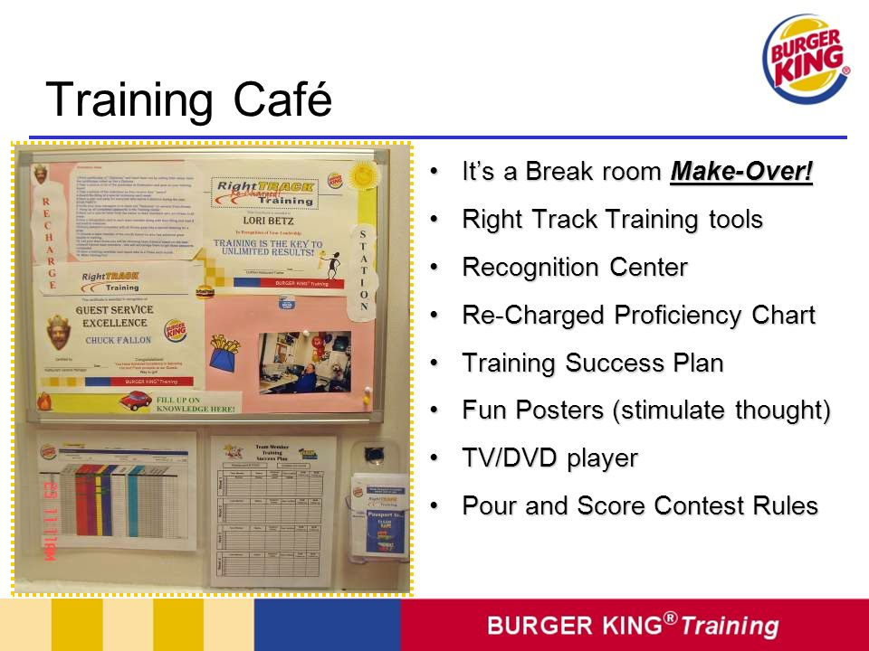 Training Café It's a Break room Make-Over! Right Track Training tools