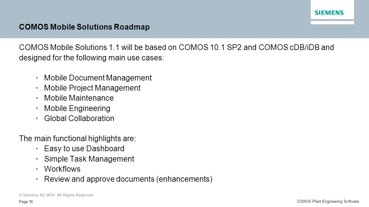 COMOS Mobile Solutions Roadmap