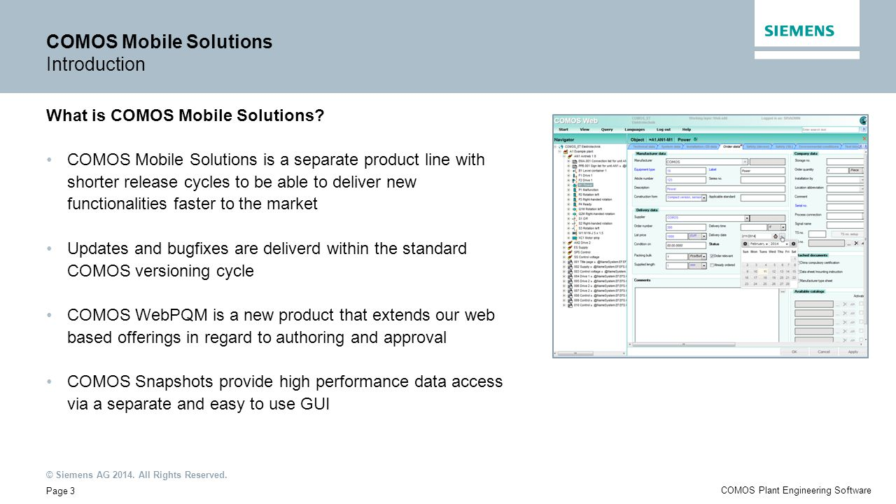COMOS Mobile Solutions Introduction