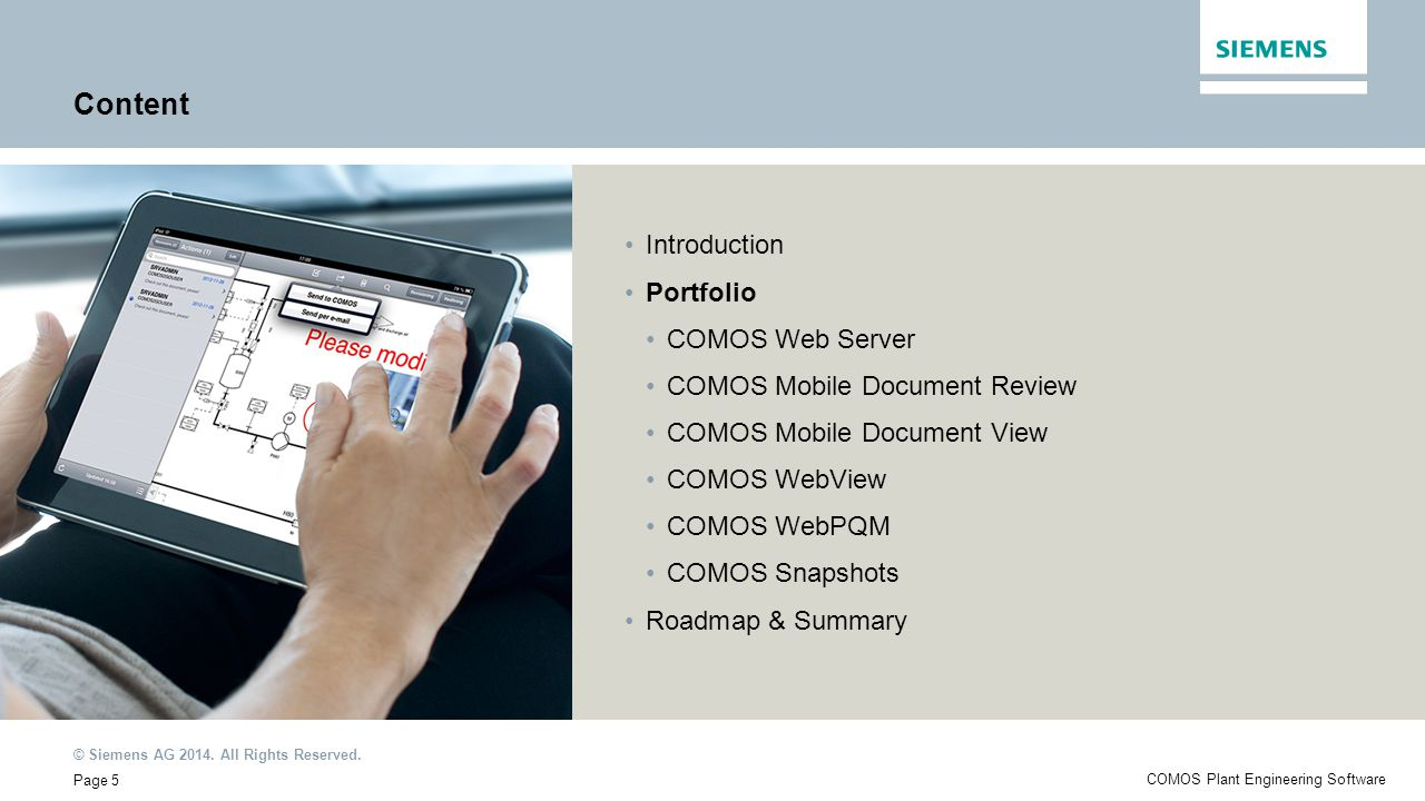 Content Introduction Portfolio COMOS Web Server