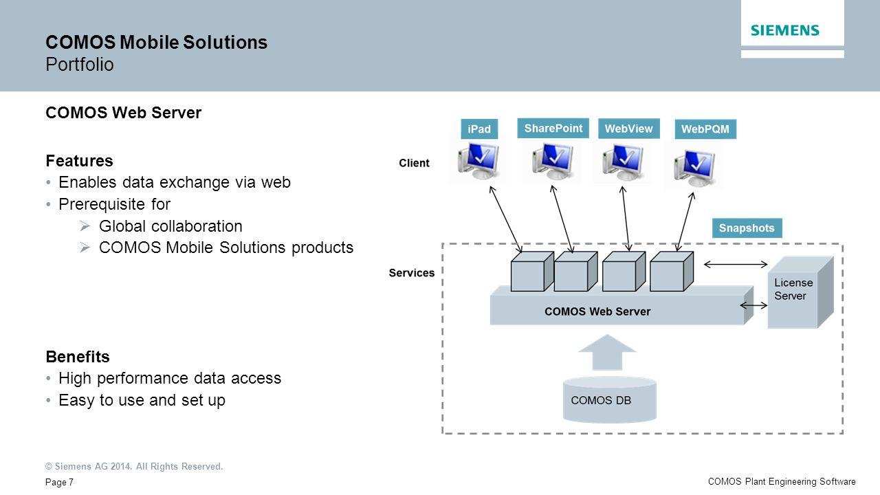 COMOS Mobile Solutions Portfolio