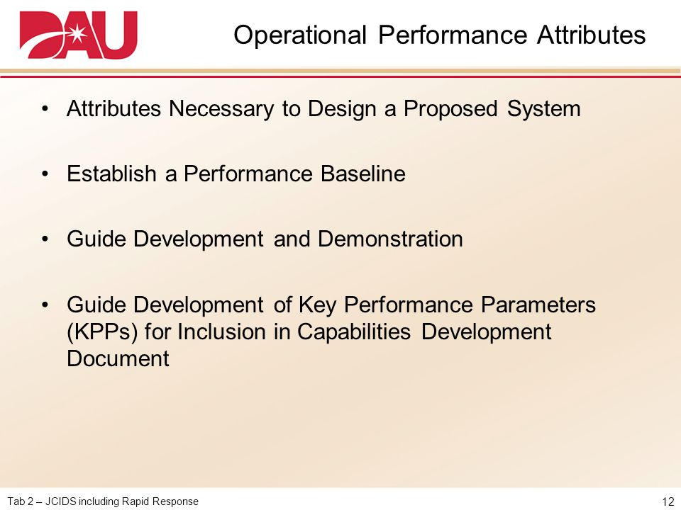 Operational Performance Attributes