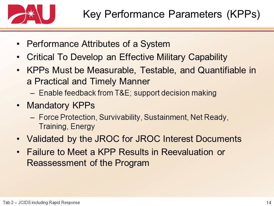 Key Performance Parameters (KPPs)