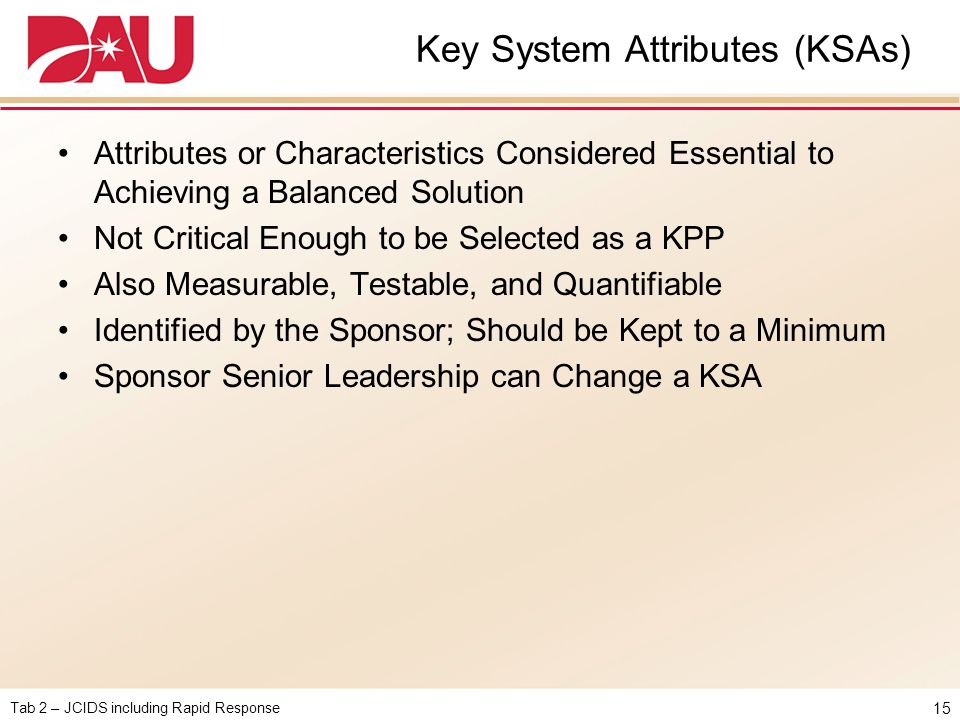 Key System Attributes (KSAs)