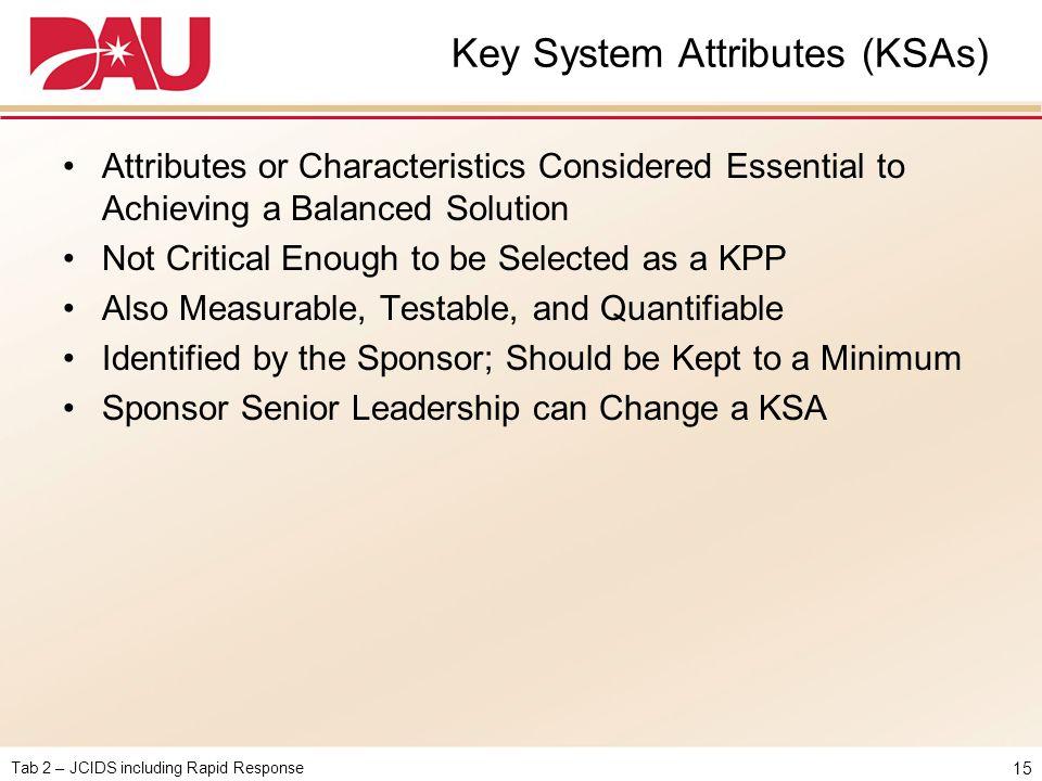 Key System Attributes (KSAs)