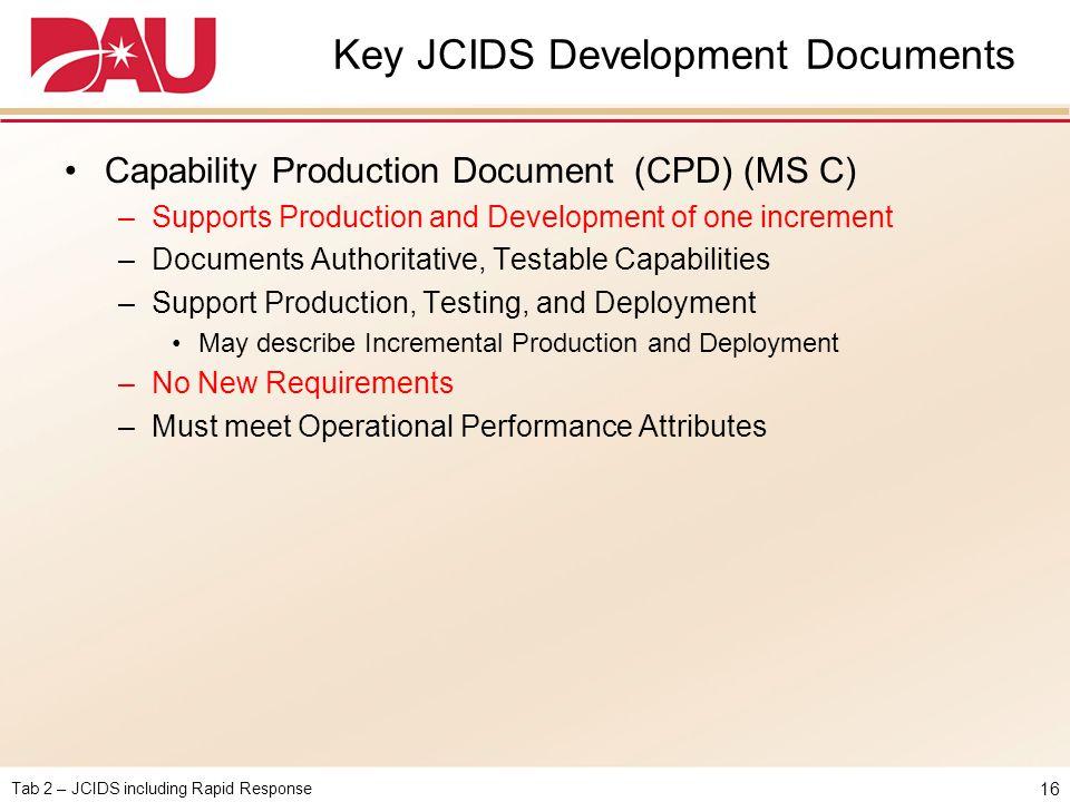 Key JCIDS Development Documents