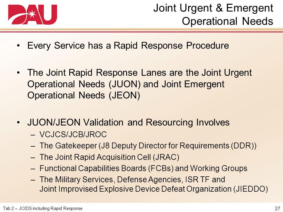 Joint Urgent & Emergent Operational Needs