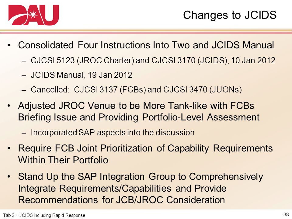 Changes to JCIDS Consolidated Four Instructions Into Two and JCIDS Manual. CJCSI 5123 (JROC Charter) and CJCSI 3170 (JCIDS), 10 Jan