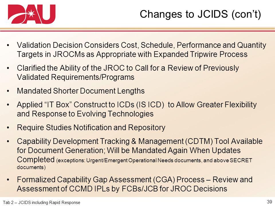 Changes to JCIDS (con't)