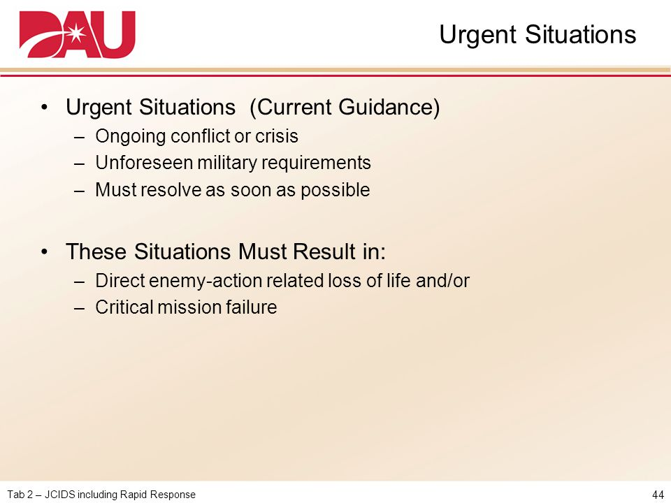 Urgent Situations Urgent Situations (Current Guidance)